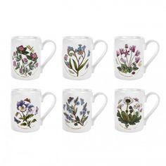 Portmeirion Botanic Garden Coffee Mugs Set Of 6