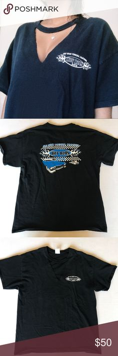 CUTOUT RACING TEE super cool black racing tee with blue and white details Fit: XS-M, depending on desired fit Quality: good worn quality, no holes or stains *brand for exposure*  Tags: vintage, racing, LF, Tommy Hilfiger, adidas, unif, Brandy Melville, Levi's, mom jeans, kappa, urban outfitters LF Tops Tees - Short Sleeve