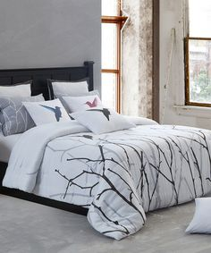 Take a look at this Silver & Black Vicki Duvet Set by Duck River Textile on #zulily today! $100 !!