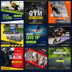 Sports social media post collection for digital marketing Premium Vector - Social Marketing, Marketing Digital, Sports Marketing, Marketing Articles, Online Marketing, Social Media Ad, Social Media Branding, Social Media Template, Youtube Banner