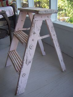 Vintage Pink Ladder, so shabby chic