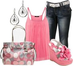 Summer #outfit  with jeans and pink singlet and platform shoes