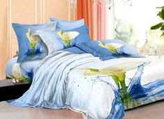 ' New Style Tops, Water Printing, Cotton Bedding Sets, Floral Bedding, Bedding Sets Online, Calla Lily, Flower Prints, Bed Sheets