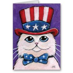 Patriotic White Persian Cat | Happy 4th of July Cards