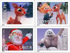 1964 rudolph the red-nosed reindeer stamps. Omg this is enough to make me want to send Christmas cards!