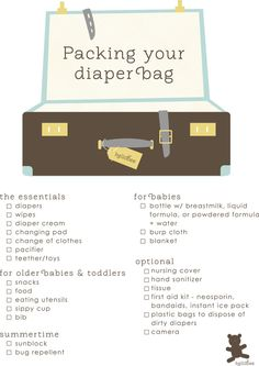 This is many years down the road, but I know that I will be packing everything but the kitchen sink in the diaper bag!   Here is a good list to help me be more sensible.