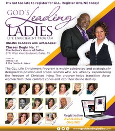 "God's Leading Ladies Life Enrichment Program ""GLL"" is widely celebrated & strategically designed to Empower, Position & Propel women into their Destiny! This program helps transition women from their comfort zones into their divine purpose. For more information visit http://www.godsleadingladies.com Register Today!"