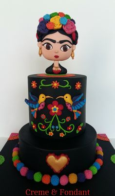 Frida Kahlo cake. Gorgeous Cakes, Pretty Cakes, Amazing Cakes, Mexican Birthday, Mexican Party, Mexican Cakes, Fondant Cakes, Cupcake Cakes, Frida Kahlo Birthday