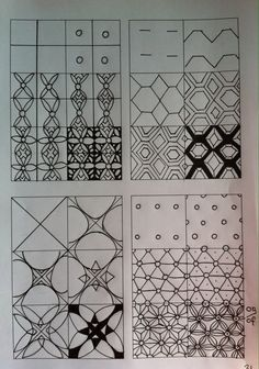 Zentangle tutorials Zentangle stappenplannen Doodle Patterns, Drawing Tutorial, Zentangle Drawings, Mandala Pattern, Tangle Doodle, Graph Paper Art, Zentangle Patterns, Doodle Drawings, Pattern Art