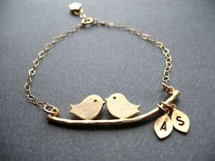 Bridal Shower Gift, LOVE BIRDS BRACELET, Engagement ...