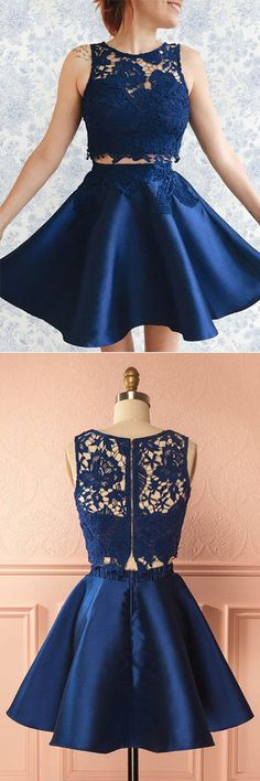 two piece dark blue homecoming dresses,cute lace short prom dress,semi formal dresses for teen,simple satin party gowns dresses for teens Dark Blue Homecoming Dresses, Semi Formal Dresses For Teens, Semi Dresses, Two Piece Homecoming Dress, Hoco Dresses, Trendy Dresses, Cheap Dresses, Cute Dresses, Fashion Dresses