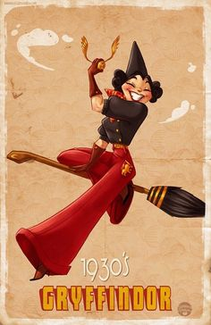 Retro Hogwarts Pinups from Different Decades Savannah Alexandra Art designed these adorable and fashionable retro pinups of the Hogwarts Houses from Harry Potter in the 1920s, 1930s, 1940s, and 1950s...