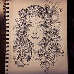 Series of faces - doodle 3 zendala face doodles, art drawing Zentangle Drawings, Zentangle Patterns, Art Drawings, Doodle Art Letters, Doodle Art Journals, Face Doodles, Doodle People, Tinta China, Face Art