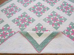 Beautiful Vintage Nile Green Pink White Star of Bethlehem Quilt   eBay