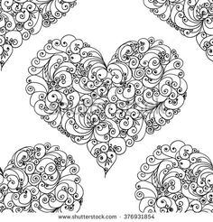 Hand drawn hearts. Seamless pattern. Use it as pattern fills. Adult coloring book page. Joy to adult colorists, who like art, relax and meditation.
