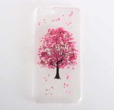 Handmade Floral Real Flowers Pink Tree TPU Case For iPhone 6 6s via Sunday_gallery