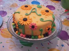 Orange Sunshine Flower Birthday Cake with Initial