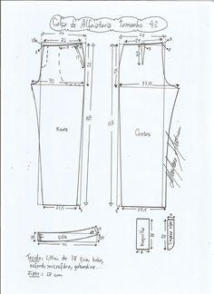 Esquema de modelagem de calça alfaiataria tamanho 42.