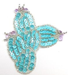 """Cactus with Light Turquoise, Lavendar Sequins and Silver Beads  3"""" x 3"""""""