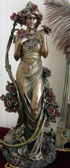 Alfons Mucha - Art Nouveau - Sculpture 'Roses' - Bronze ■♤♡◇♧☆■