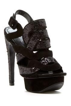 Crisscross Glitter Platform Sandal