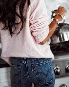 pink + jeans