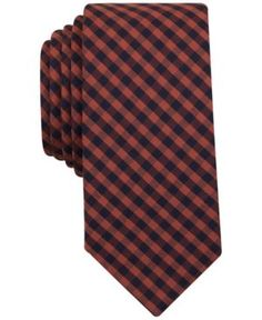 Bar Iii Men's Rust Dobby Gingham Slim Tie, Only at Macy's - Red
