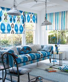Love the use of several fabrics on one piece {Designers Guild Miami Fabric collection}