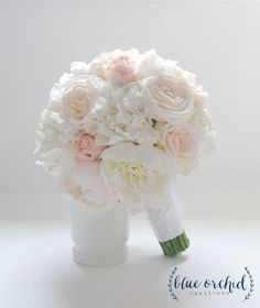 Peony Bouquet - with roses in blush and ivory - Ivory Peony Bouquet, Blush Peony…