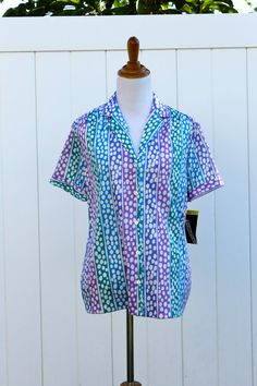 VIntage 70s Multicolored Polka Dot Blouse Shirt by by TheRubyOlive, $20.00