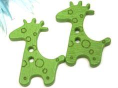 Grass Green 28mm x 20mm Wooden Painted Kids by BaubleBinBeads, $1.00