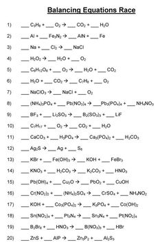 Balancing Chemical Equations   Mr. Durdelu0027s Chemistry