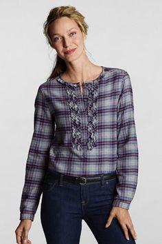 Woman's Regular Long Sleeve Flannel Ruffle Popover Shirt