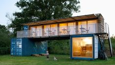 Containhotel, designed by Prague and Vienna-based Artikul Architects, is a seasonal, mobile lodging set on a surfing campsite on the Elbe river bank.