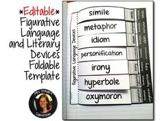 Editable Figurative Language Interactive Reading Notebook Activity Aligned with the Common Core State Standards (For upper elementary, middle and high school). This could be great for any vocabulary building in any subject for ELL and non-ELL students. 6th Grade Reading, Middle School Reading, Middle School English, Speech And Language, Language Arts, English Language, Teaching Reading, Teaching Activities, Teaching Resources