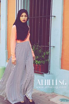 #simple Gray Maxi Skirt, Pink Coral Top, Black Scarf