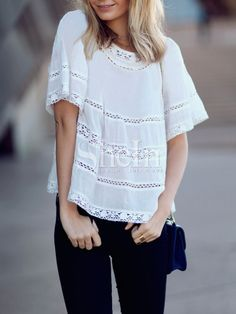 SheIn offers White Eyelet Lace Hem Blouse & more to fit your fashionable needs. Mom Outfits, Pretty Outfits, Casual Outfits, Fashion Outfits, Boho Fashion, Boho Tops, Lace Tops, Short Frocks, Blouse Patterns