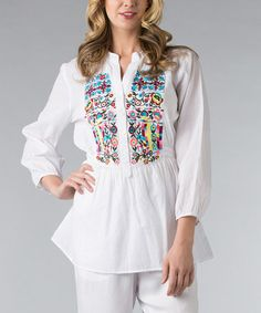 Another great find on #zulily! White & Blue Floral Embroidered Peasant Top - Women by Vasna #zulilyfinds