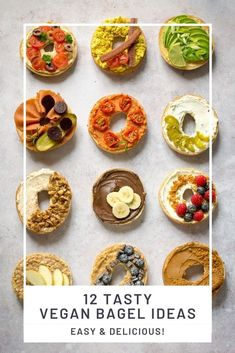 These delicious vegan bagels are easy but packed with flavour. Twelve tasty toppings - both savoury and sweet. #Vegan #TheVegSpace Vegan Comfort Food, Vegan Food, Vegan Recipes, Spring Recipes, Easter Recipes, Vegan Breakfast, Breakfast Ideas, Vegan Bagel, Bagel Toppings