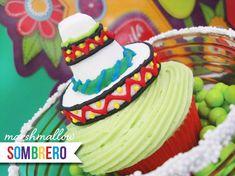DIY Tutorial: Marshmallow Sombrero & Serape Cupcake Toppers for Cinco de Mayo!
