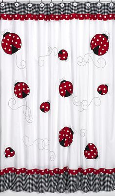 Shop for Sweet Jojo Designs Polka Dot Ladybug Kids Shower Curtain. Get free delivery On EVERYTHING* Overstock - Your Online Shower Curtains & Accessories Store! Cotton Curtains, Red Curtains, Bathroom Kids, Simple Bathroom, Kids Bath, Polka Dot Bathroom, Cute Shower Curtains, Shower Liner, Room Accessories