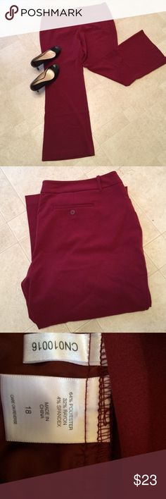 "NY & Co burgundy Pants NY & Co burgundy career pants. Size 18. They have a lot of stretch to them. They are in great shape. Waist flat is roughly 20"" and the inseam is roughly 32"". New York & Company Pants Boot Cut & Flare"