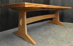 Dorset Custom Furniture - A Woodworkers Photo Journal: an oak slab trestle table