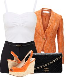 """Orange, White, and Black"" by fashion-766 on Polyvore"