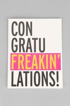 Con-Gratu-Freakin-Lations Card #urbanoutfitters