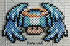 Angel Mushroom by PerlerPixie on DeviantArt Fuse Bead Patterns, Perler Patterns, Beading Patterns, Hama Beads Mario, Diy Perler Beads, Pixel Art Champignon, Hamma Beads Ideas, Hama Art, Perler Bead Templates