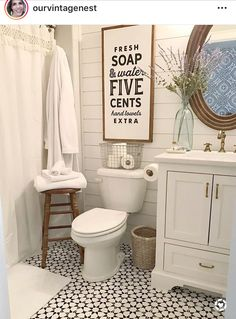 Love this farmhouse bathroom