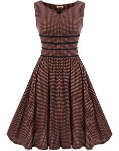 ACEVOG Women's Polka Dot Vintage Style 1940s Cocktail Party Dress (Red XXL) at Amazon Women's Clothing store: