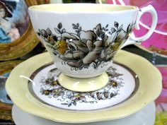 QUEEN ANNE YELLOW FLOWERED TEA CUP AND SAUCER DUO