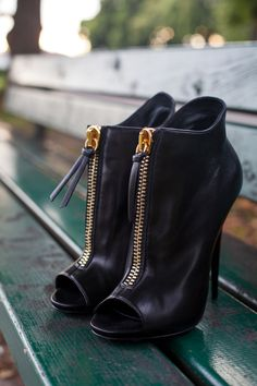 Black booties #shoes #love #black #gold #stilettos #boots